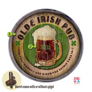 Personalized Barrel End Olde Irish Pub Sign