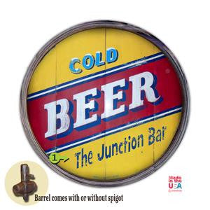 Personalized Barrel End Cold Beer Bar Sign