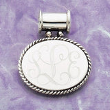 sterling silver oval pendant rope border engraved