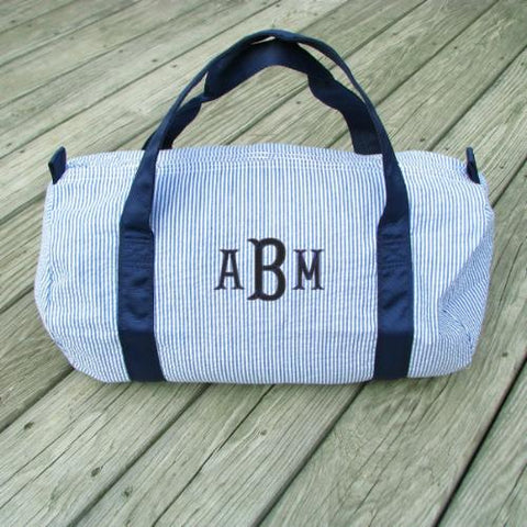 seersucker duffle bag personalized