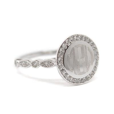 engraved sterling silver ring with monogram