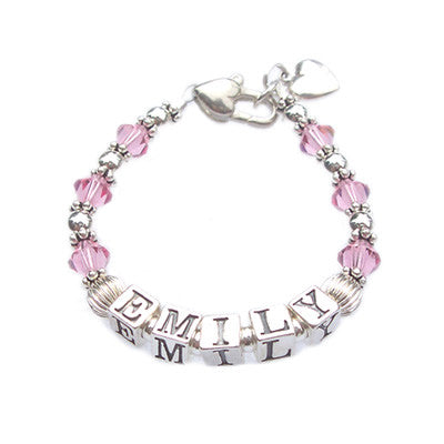 birthstone name bracelet for child