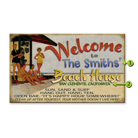 Welcome to our beach house sign personalized