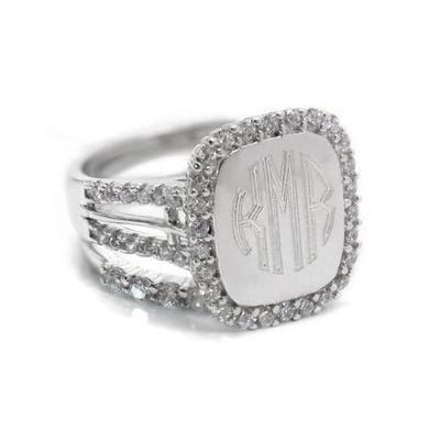 bella engraved sterling silver ring