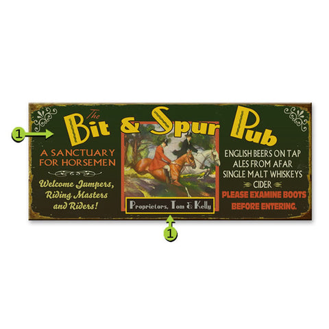 Bit and Spur Pub Sign personalized