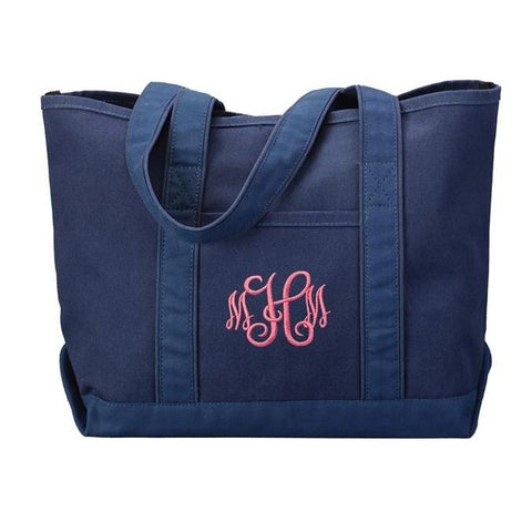 solid navy tote bag monogrammed