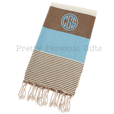Blue & Brown Peshtemal Cotton Beach Towel - Personalized
