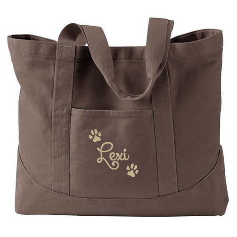 dog paw tote personalized