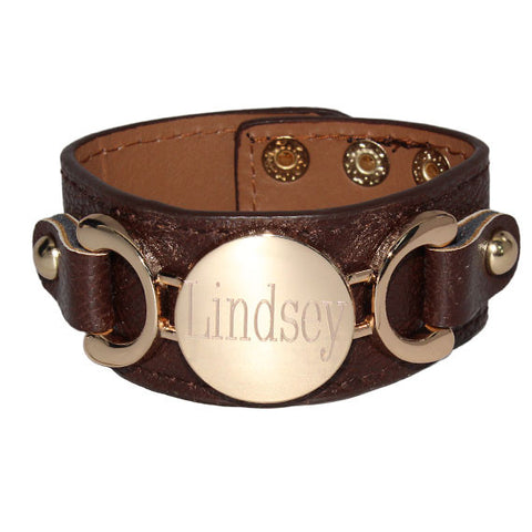 monogram leather cuff bracelet engraved