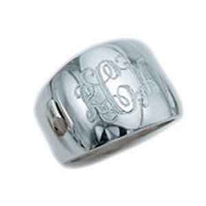 silver cigar band ring engraved
