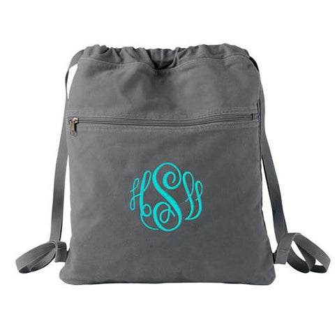 monogrammed cinch bag
