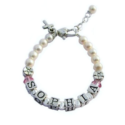 pearl baby bracelet with birthstones