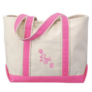 dog paw tote with name