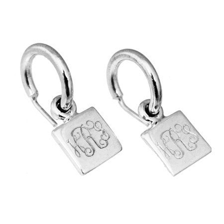 square charm earrings hoops engraved