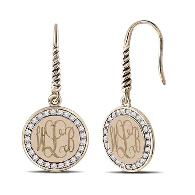 Gold Plated Sterling Silver Round Monogrammed Earrings with ear wires