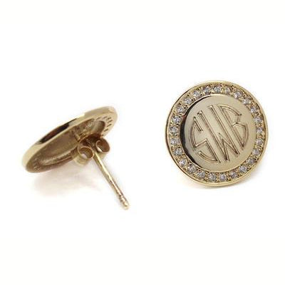 Gold Plated Sterling Silver Round Monogrammed Earrings with CZ