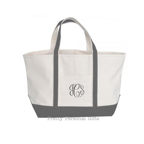 boater tote monogrammed in gray with zipper