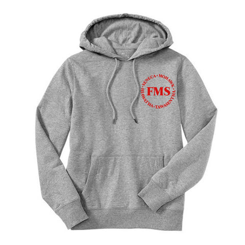"Gray Hoodie with ""FMS"" logo"
