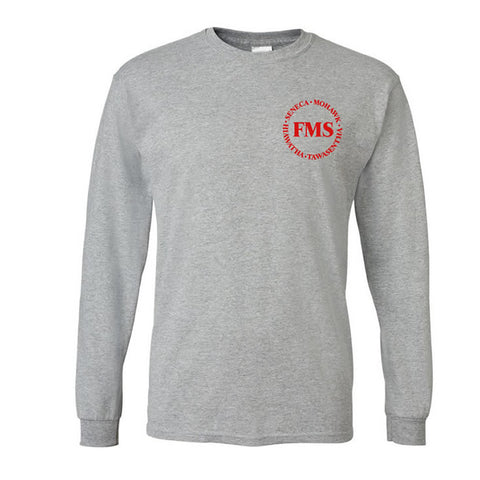 "Gray Long Sleeve T-shirt with ""FMS"" logo"