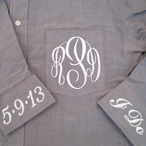 gray monogrammed oxford wedding shirt