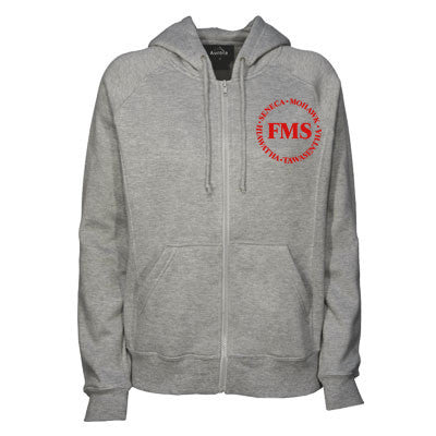 "Gray Zipper Hoodie with red ""FMS"" logos"