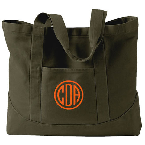 Monogram Tote Bag - 7 solid colors