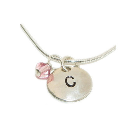 hand stamped initial charm