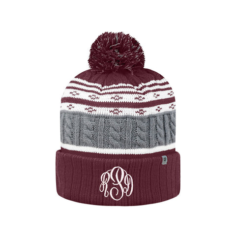 knit winter hat with monogram
