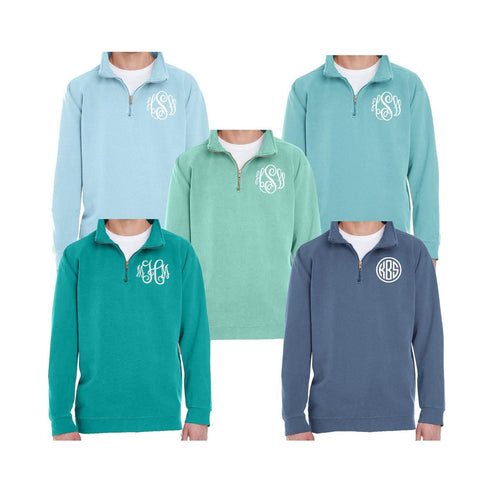 comfort colors quarter zip with monogram