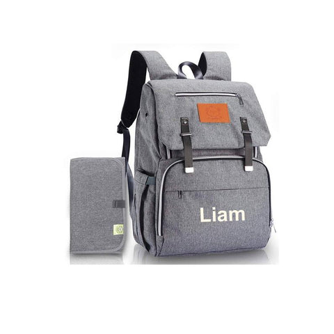 Gray personalized diaper bag backpack