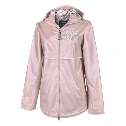 Charles River Rose Gold New Englander Rain Jacket with Monogrammed