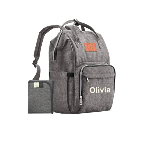 Gray Backpack Diaper Bag with Monogram - Free Shipping