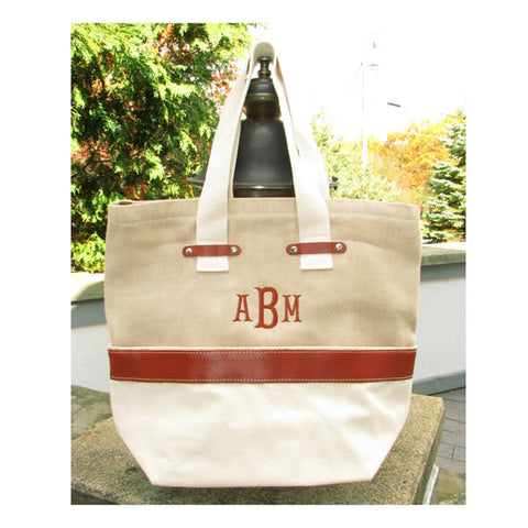 Jute Leather tote bag monogrammed
