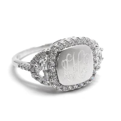 Engraved Sterling Silver Leia Ring with CZ