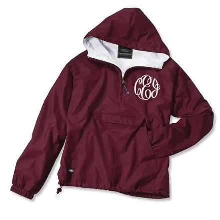 Monogrammed Windbreaker pull over jacket 10 colors