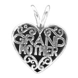 Grandmother Filigree Heart Charm  - Sterling Silver