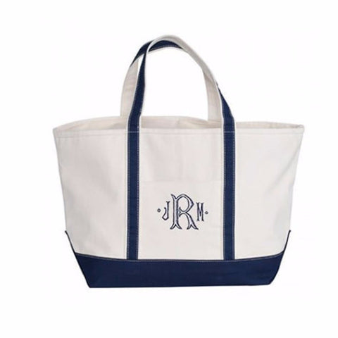 large monogrammed tote bag zipper