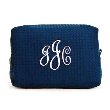 monogrammed waffle toiletry bag