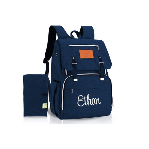 navy monogrammed diaper bag backpack