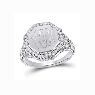 monogrammed octagon ring