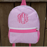 pink seersucker backpack