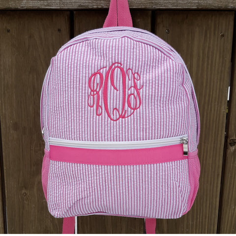 pink seersucker backpack monogrammed