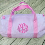 monogram seersucker duffle bag