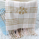 pink plaid monogram blanket