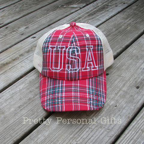 Red Plaid USA Trucker Hat