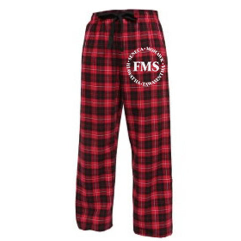 "Red Plaid Flannel Pants with white ""FMS"" logo"