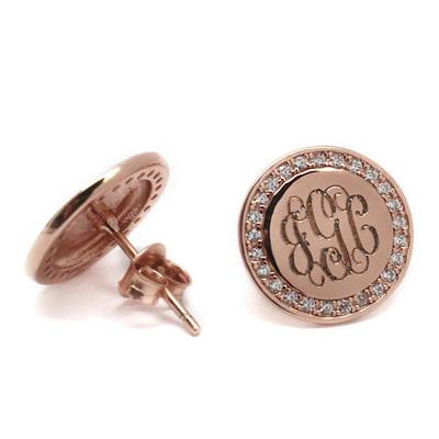 round rose gold engraved earrings