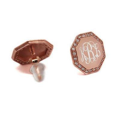 rose gold octagon engraved earrings