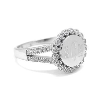 Round engraved sterling silver ring