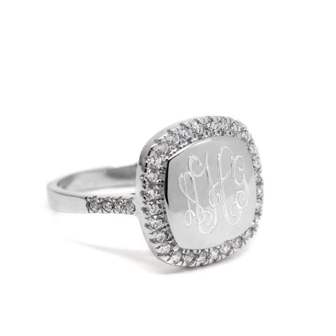 square sterling silver monogrammed ring